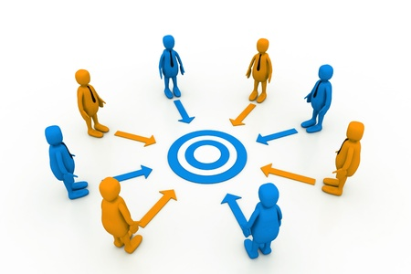 common target: Team work target with leaders  Stock Photo