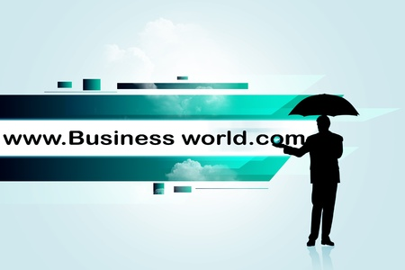 website wide window world write www: Internet address concept with business man