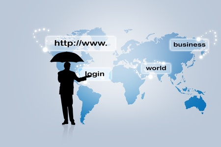 Internet address concept with business man photo