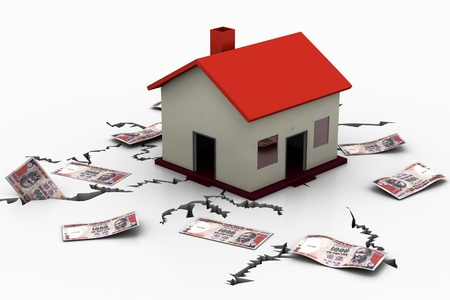 earthquake crack: house Earthquake Concept with Indian money  Stock Photo