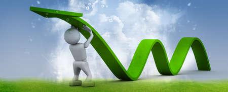 Man climb green growth arrow photo