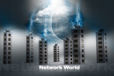 Satellite network. top of the building  photo