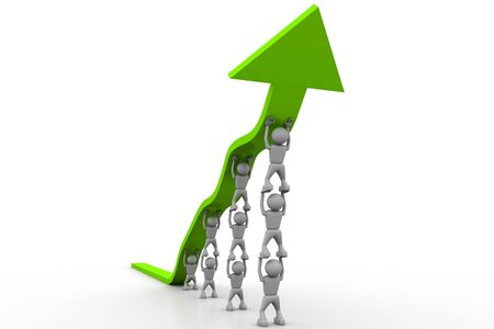 surpassing: People pushing up the green arrow