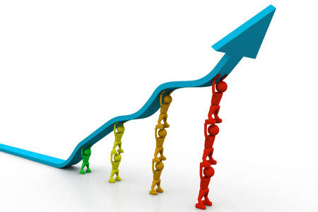 surpassing: People pushing up the blue arrow  Stock Photo
