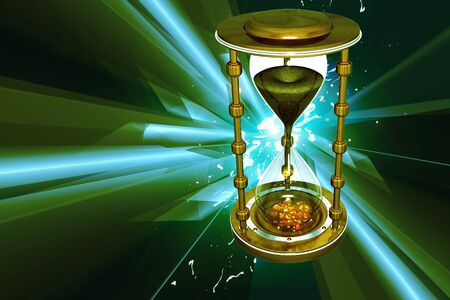 expire: Digital illustration of hour glass in color background
