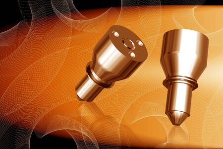 Digital illustration of fuel injection nozzle in color background Stock Illustration - 8320616