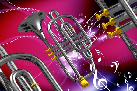 Digital illustration of musical instruments in color abstract background   illustration