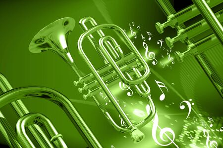 楽器: 色の抽象的な背景の楽器のデジタル イラストレーション