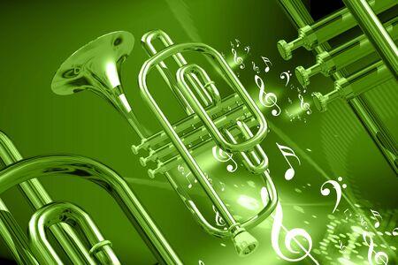 instruments de musique: Illustration numérique des instruments de musique en arrière-plan abstraite de couleur  Banque d'images