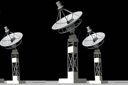 Highly quality of satellite dish in isolated  background photo