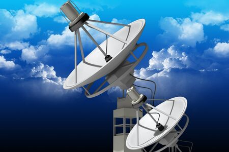 Highly quality of satellite dish in color  background  photo