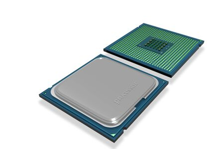 processor: Highly quality of 3d processor in isolated background Stock Photo