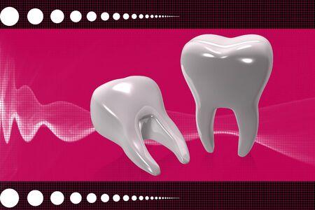 Digital illustration of teeth in color background  illustration