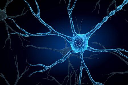 Neuron op geïsoleerde achtergrond Stockfoto