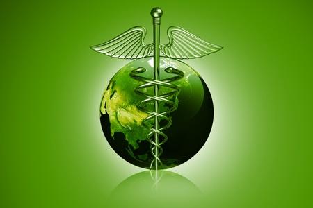 Caduceus medical symbol with world