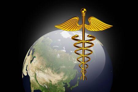 Símbolo médico caduceo con mundo  Foto de archivo