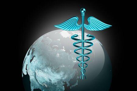 Caduceus medical symbol with world  photo