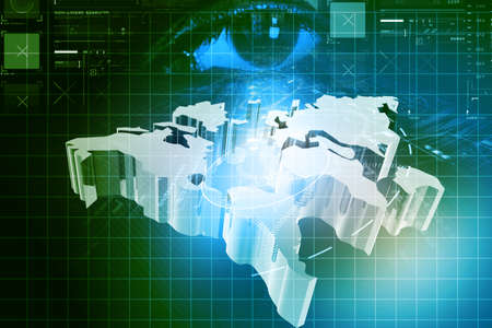 viewpoint: Eye with world map in digital background  Stock Photo