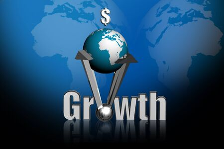3d rendering Growth and  globe in color abstract background  photo