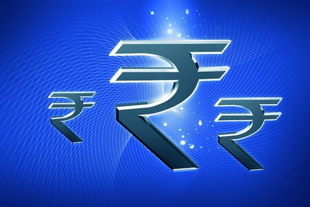 Indian rupee sign in color abstract background Stock Photo - 8369436