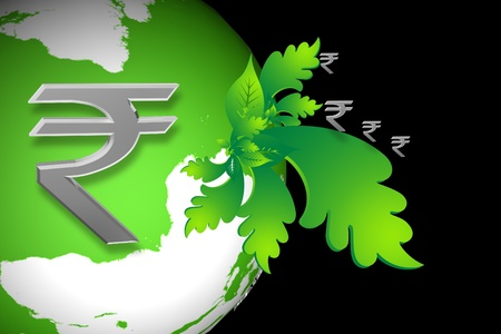 green economy: Indian rupee sign and world sign  in color abstract background