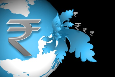rupee: Indian rupee sign and world sign  in color abstract background