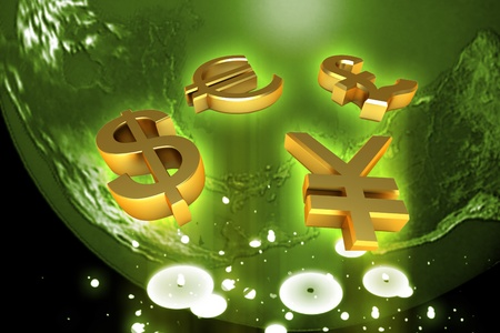 Digital illustration of  world and world currency  in color background  illustration