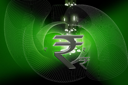 Indian rupee sign in color abstract background