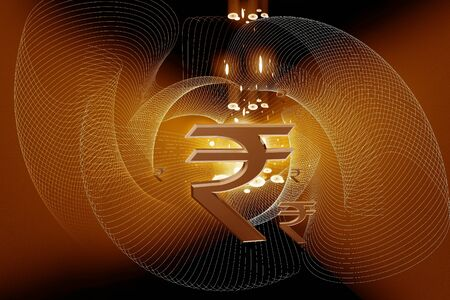 rupee: Indian rupee sign in color abstract background