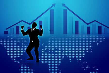 frond: Digital illustration of business man and graph in frond of world