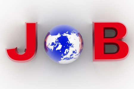 Digital illustration of globe and job in isolated background  illustration