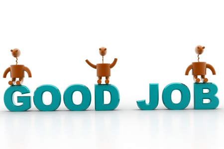 acknowledgement: digital illustration of good job in isolated background