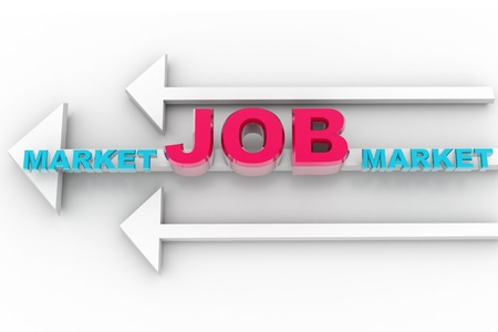 searches: digital illustration of job market arrow in isolated background Stock Photo
