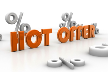 cost estimate: 3d rendering of hot offer and percentage in isolated background   Stock Photo