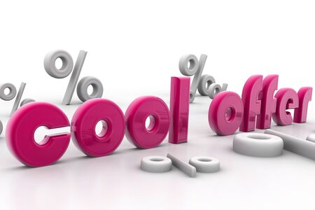 cooling: Digital illustration of cool offer and percentage in isolated background  Stock Photo