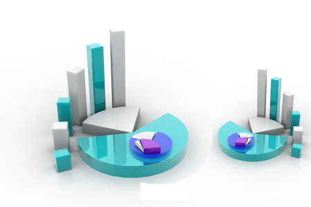 3d rendering of graph and pie Stock Photo - 8369066