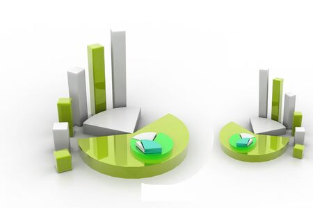 3d rendering of graph and pie Stock Photo - 8369053
