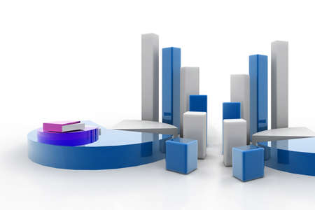 3d rendering of graph and pie Stock Photo - 8368987
