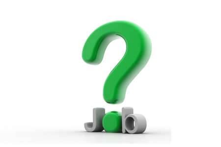 preferable: 3d rendering of question mark and job in isolated background Stock Photo