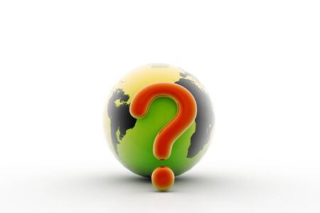 3d rendering of world question in isolated background Stock Photo - 8368732
