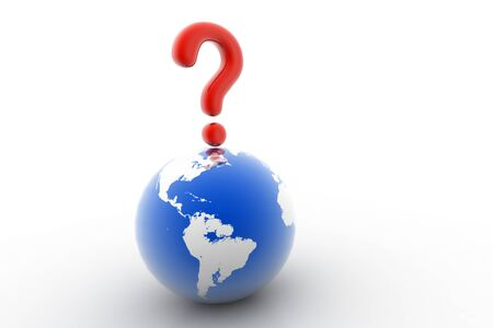 3d rendering of world question in isolated background   photo