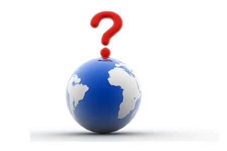 3d rendering of world question in isolated background  Stock Photo - 8368645