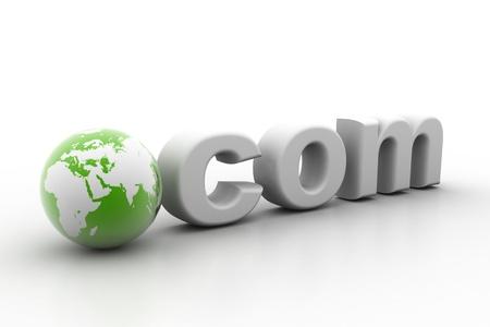 dot com: 3d rendering of world dot com