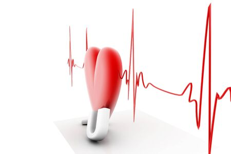 electrocardiograph: 3d render of heart beat in isolated background