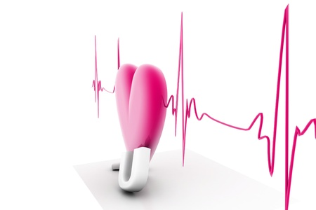 stress test: 3d render of heart beat in isolated background