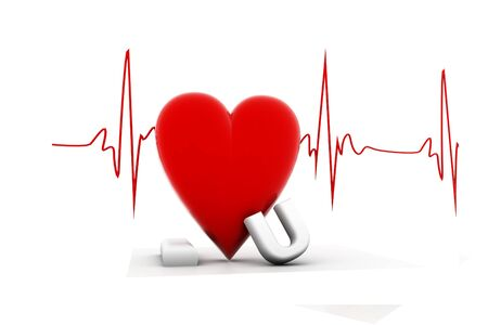 3d render of heart beat Heart beat and I love you  in isolated background    photo