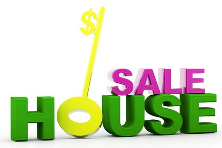 Digital illustration of house sale in isolated background  illustration