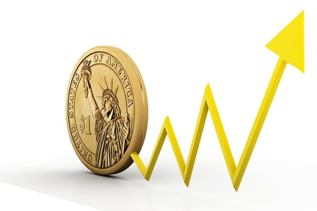 positivist: Dollar coin with  arrow showing  profit s