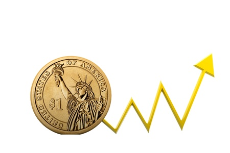 Dollar coin with  arrow showing  profit s Stock Photo - 8368903