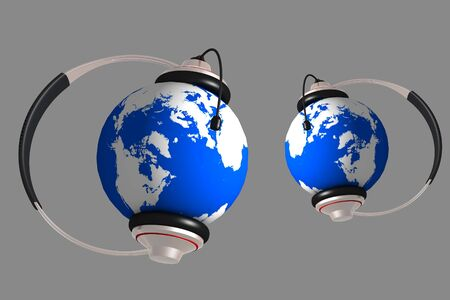 hands free device: A headset on world globe in isolated background  Stock Photo